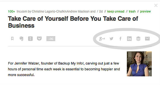 feedly with share buttons