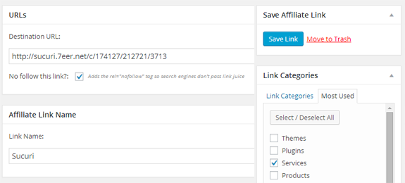 Create Affiliate Links in WordPress