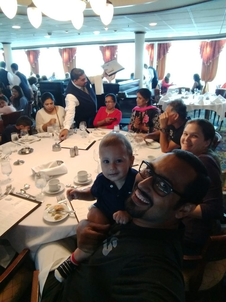 Solly at the family dinner on Cruise