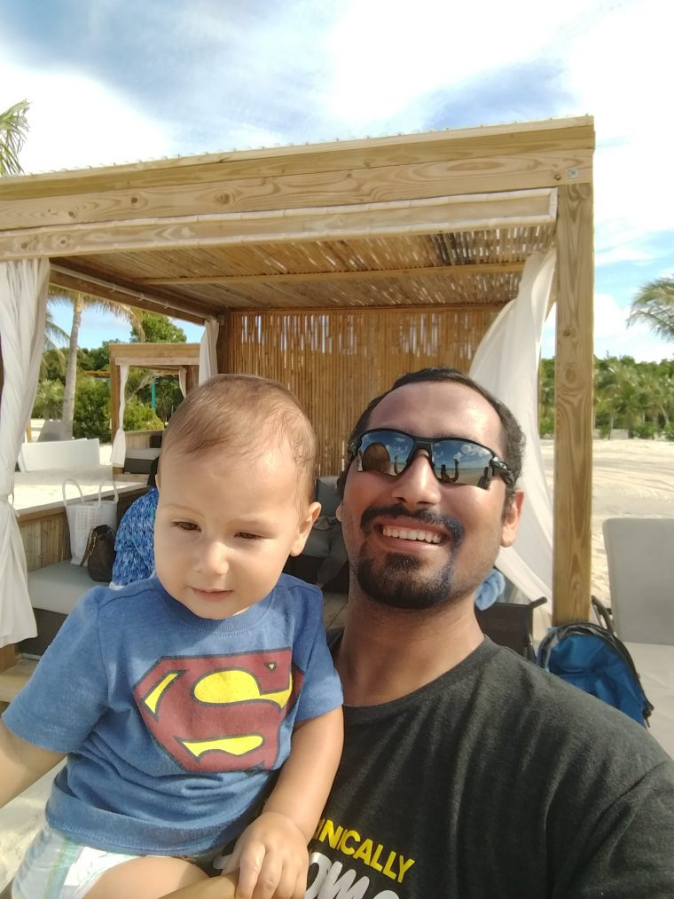 Solly and I at our cabana in Bahamas