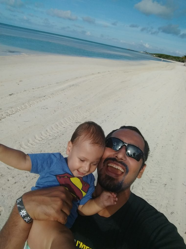 Solly and I on the beach in Bahamas