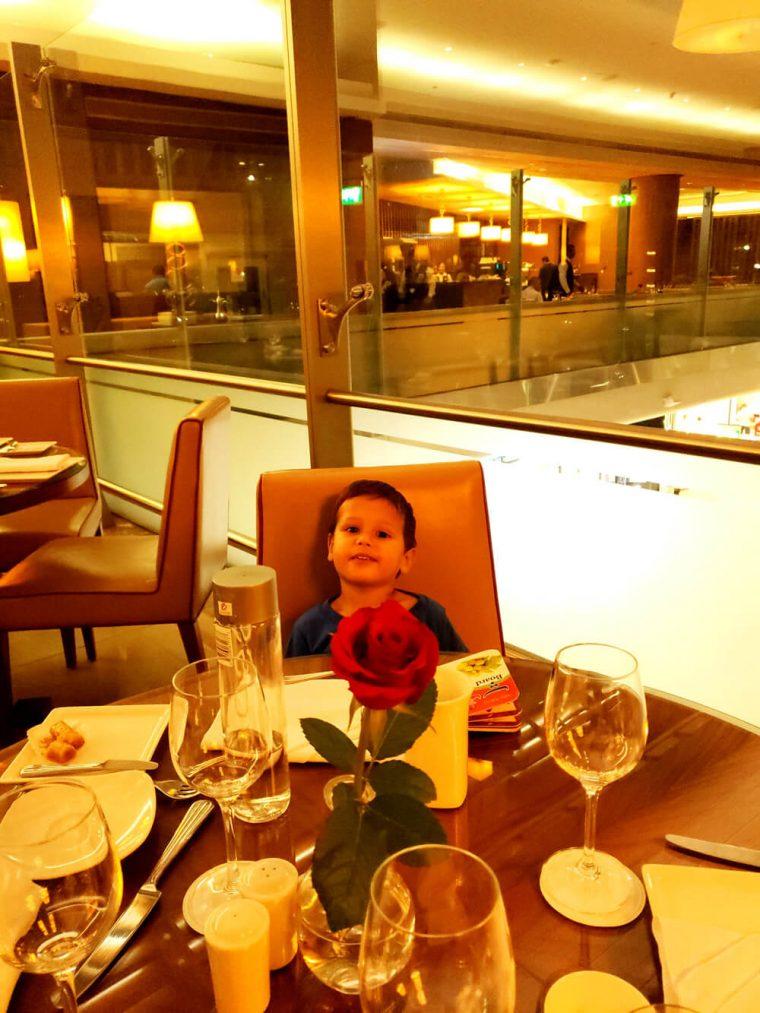 Solomon in Emirates Lounge at Dubai Airport