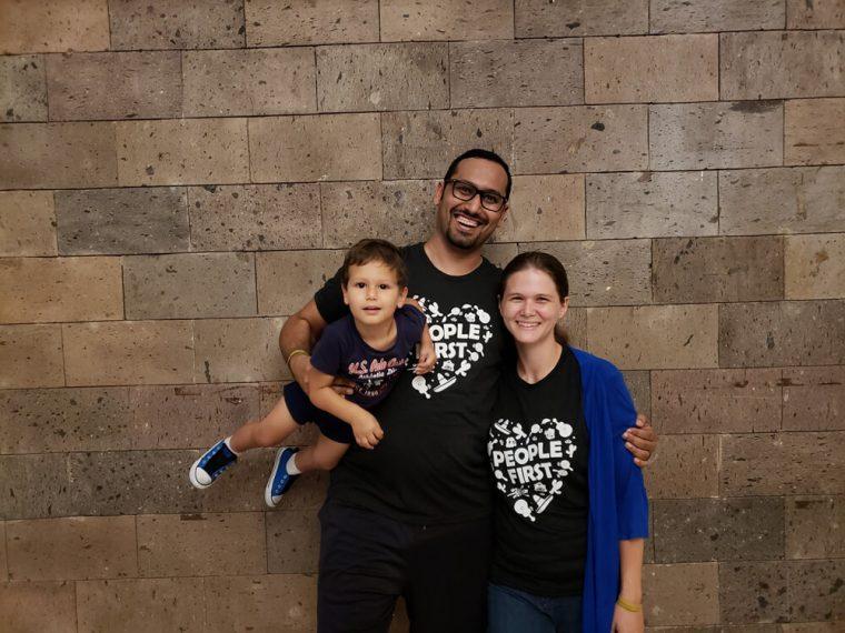 Family photo at the company retreat