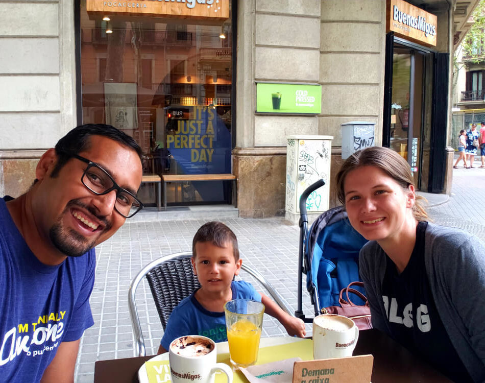 Family Coffee time in Barcelona