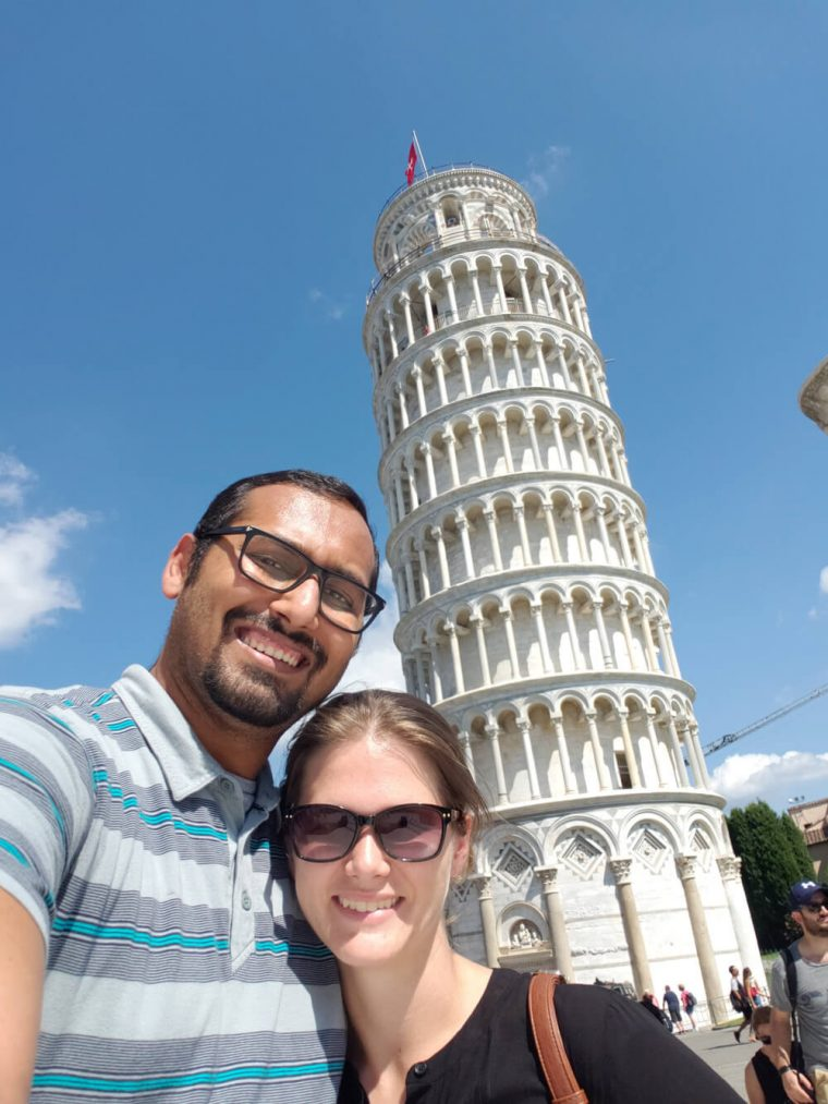 Selfie by the Leaning Tower of Pisa