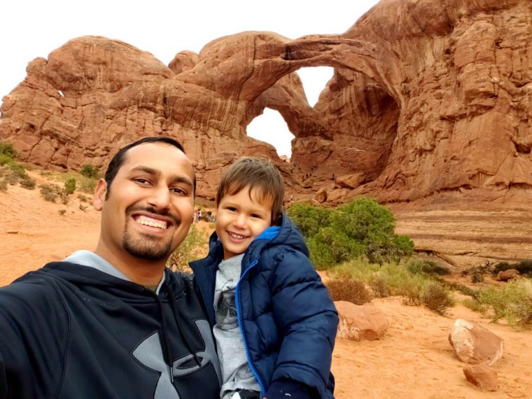 Selfie with Solomon at Arches National Park