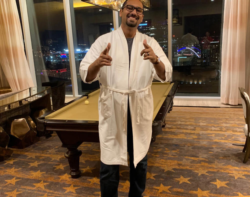 They gave me a robe and slippers ... I thought why not pose like Hugh Heffner