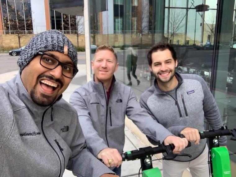 Jared, Thomas, and I riding Lime Bike in Nashville
