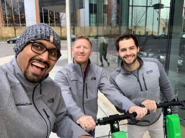 Jared, Thomas, and I riding Lime Bike in Nashville