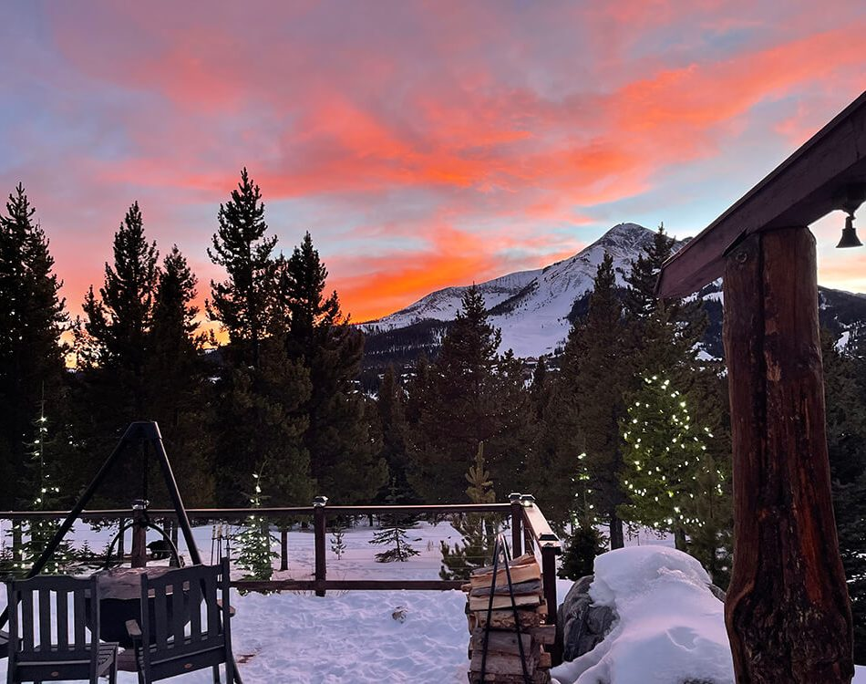 Sunset from our deck - Big Sky Montana