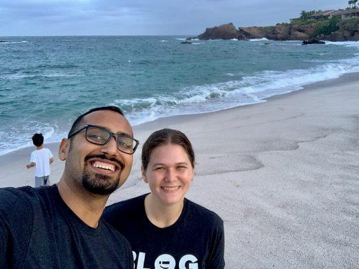 Punta Mita beach selfie with Amanda and Solly