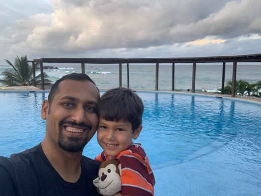 Taking a picture with Solomon at Punta Mita pool before we leave