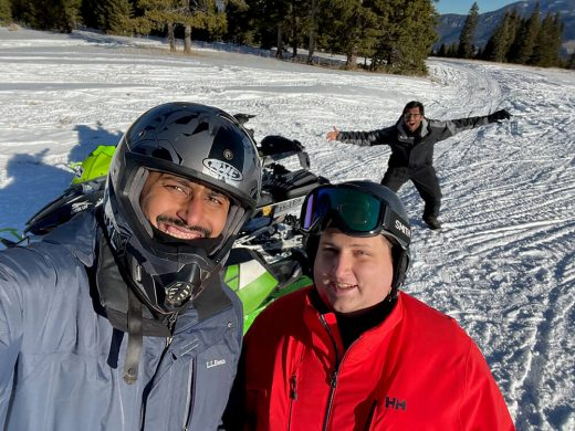 Snowmobiling with Chris and Zain